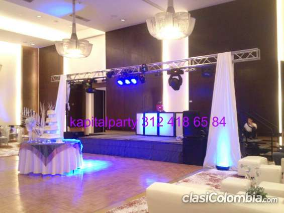Alquiler luces led truss sonido array btl  minitecas video beam  cañon papel ventury bingo  ,viejotecas , matrimonios ,quince años crio jet co2 carpas tarima kapital party producciones