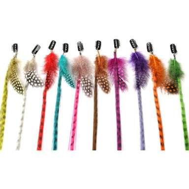 Mechones tipo grizzly con pluma natural para el cabello con clip fácil de poner y quitar.