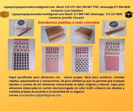 Cajas para alimentos y papel antigrasas parafinado