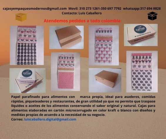 Papel  antigrasas parafinado y cajas para alimentos