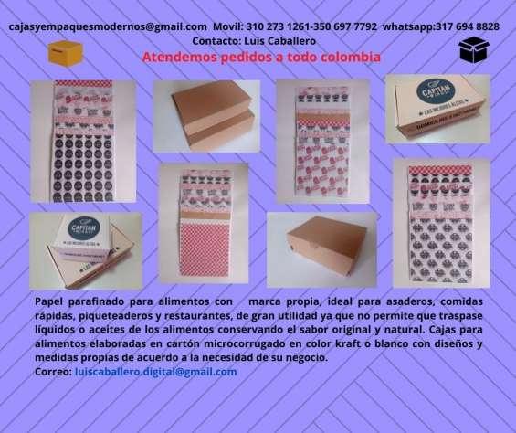 Papel parafinado antigrasas y cajas para alimentos